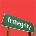 Picture of a signpost saying integrity