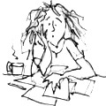 Cartoon of stressed-looking woman at a desk scattered with papers